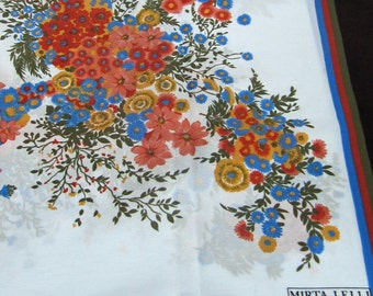 Vintage Retro Mirta Lelli Floral Flower Scarf in Brown Blue Green White and Yellow