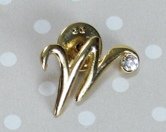 Stunning Vintage Gold Tone Metal Letter W with Single Rhinestone Pin Brooch - Kath