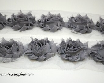 Grey - Petite Shabby Chiffon Flower Trim - YOUR CHOICE: 1/2 yard or 1 yard - Chiffon Flower Trim by the yard
