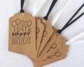 Happy Birthday Ballon Gift Tags Black & White (6) READY TO SHIP