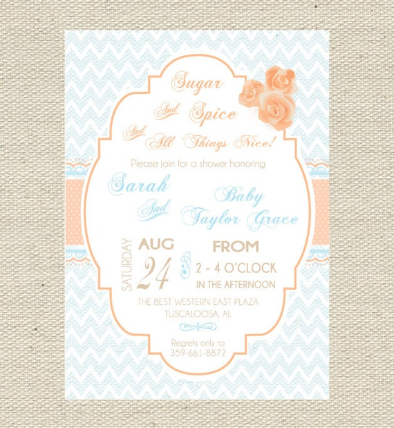 sugar and spice baby shower invitation printable shabby chic