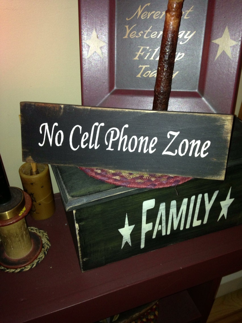 No Cell Phone Zone Wooden Stenciled Sign