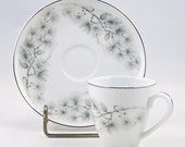Antique Demitasse Cup and Saucer Set Autumn Pine Violet China Company
