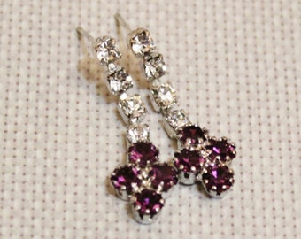 Vintage Purple Rhinestone Earrings