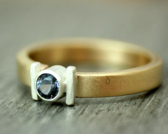 Gold & Silver Spinel Ring, Ethical Gemstone, OOAK, Steel Blue, Cobalt Blue, Gunmetal Blue, Eclectic, Ready to Ship UK Size K