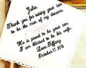Mother of The Groom Wedding Gift - Handkerchief  MAN of my dreams -PROUD to be your son - Wedding - Hank - Hankie-  Bride - Weddings