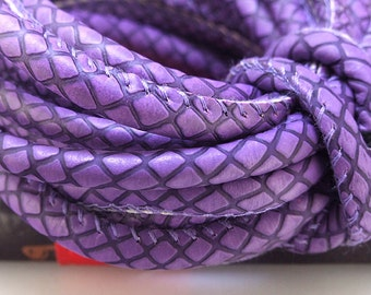 Snakeskin Leather Cord 6mm -- 3 Yards( 9ft ) -- Purple Leather Newest Design Make for Wrap Bracelet Your Jewelry Charm Style Rope Fashion