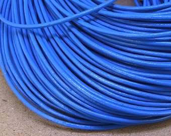 Handfasting Cord Blue Leather Cord Round 2mm -- 3 Yards( 9ft ) -- Blue Leather Cord The hand-braided cord for your handwork jewelry