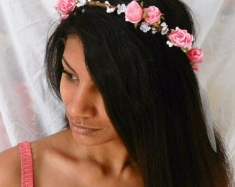 flower floral crown hair wreath ( pink rose) - Wedding headpiece, headband, vintage inspired rose crown, french ribbon pip berries