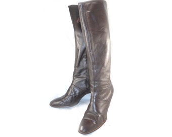Vintage Foot Flairs brown leather knee high boots - stacked heel, side zip, equestrian 7.5 7 M B