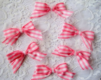 """Gingham Tie Ribbon Bows, 2 3/4 X 2"""" inches, Pink / White, x 6, For Heirloom, Apparel, Dolls, Accessories, Home Decor, Victorian Crafts"""