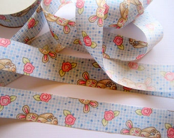"""Bunny Rose Cotton Ribbon Trim, Multi Color, 1 3/8"""" inch wide, 1 yard, For Victorian & Romantic Crafts"""