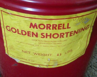 Vintage storage tin Morrell shortening advertising Tin can home decor storage