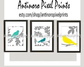 Bird Art Teal Turquoise Yellow Modern inspired Prints Set of (3) - 8 x 10 Prints (UNFRAMED) #158664889