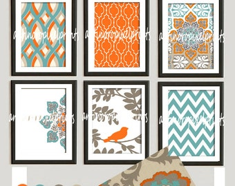 Turquoise Orange Rosa Dossett Mandarin Art Prints Collection  -Set of 6 - 8x10 Prints -   (UNFRAMED)
