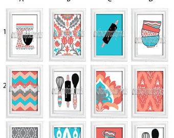 Turquoise Coral Kitchen Utensils  Art Prints -Pick Any (6) Prints, Any Color - 8x10 Prints - Custom Colors Sizes Available (UNFRAMED)