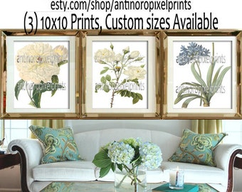 White Blue Floral Wall Art Prints Collection - Set of (3) - 10 x 10 Prints - (UNFRAMED) Custom Colors Available