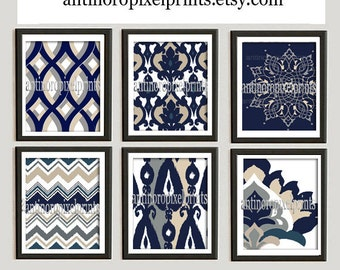 Navy Blue Tans Damask Wall Art Prints Collection  -Set of (6) - 8x10 Prints -   (UNFRAMED)