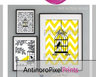 Bird Collage Yellow Greys Black Art Wall Gallery Digital Print  -Set of (3) -  Prints -  16x20, 8x10, 5x7, (UNFRAMED)