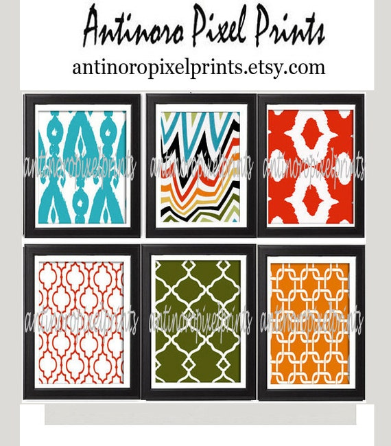 Unframed Vintage / Modern inspired Art Prints Collection (Series A) -Set of 6 - 8x10 Prints - Featured in Blue Red Green Orange   (UNFRAMED)