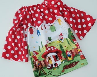 Custom Boutique Michael Miller Peasant Gnome Pillowcase dress   Sizes 6-12mo, 12-18mo, 18-24mo, 2t, 3t, 4t