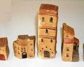 Vintage Village Miniatures , primitive stone miniature buildings, rustic cottage miniatures , clay houses, set of 5