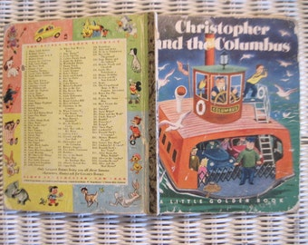 Vintage Little Golden Book Christopher and the Columbus 1951 fist edition marked with A in back