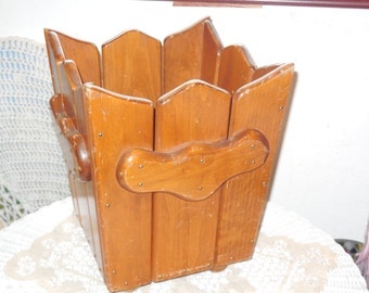 Wooden Fence Looking Planter Or Trash Can,Waste basket,Trash Basket,/Not Included in Coupon Sale :)S