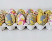 Set of 12 - Sunny Yellow and Grey fabric Easter eggs - yellow, grey, pink - Amy Butler and quilting fabric