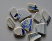Scottish Sea / Beach Pottery   -  Mixed Blue Design Pottery Shards