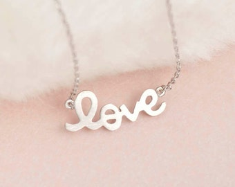 Silver LOVE Short Necklace, Love Sideways Friendship Charm, BFF Bridesmaid Wedding Bridal Jewelry, Girlfriend Sister Flower Girl, wj ej