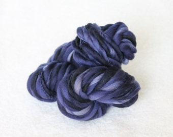 Midnight -- Handspun Thick and Thin Merino Wool Yarn in Navy Blue by HandspunbyKisses -- 46 yards