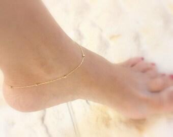 Anklet - gold beaded anklet, delicate 14k gold filled sparkling dotted chain anklet, Gold anklet, ankle bracelet, thin gold ankle bracelet