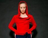 """hoodie """"löwenzahn"""", red, cotton, s/m/l"""