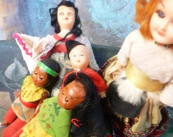Vintage Plastic Dolls,    Lot of Souvenir Dolls, Travel Dolls,  Collection of Plastic Dolls Assemblage, Upcycling Supplies,  Doll Lot