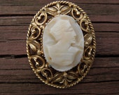 Vintage Florenza Brooch.  Cameo.  Hand Carved.  Gold Tone.  1950's or 1960's.  Signed.