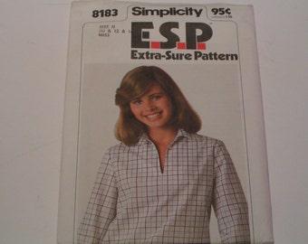 Vintage Simplicity 8183 ESP Miss Pullover Blouson Top