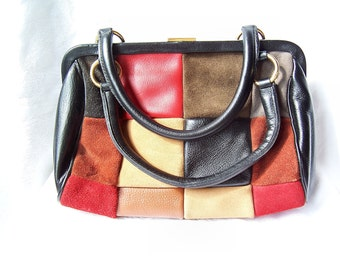 Leather Multicolor Patchwork  Purse, Designer Handbag by Roger Van S, Leather Patchwork purse, Colorful handbag