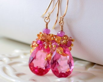 Bright Pink Earrings, Quartz Gemstone, Mandarin Garnet, Genuine Padparadscha Sapphire, Gold Bridal Jewelry - Tropical - Free Shipping