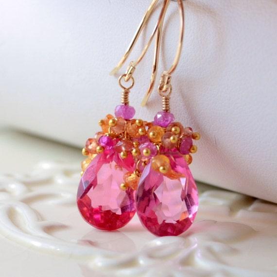 bright pink earrings quartz gemstone mandarin garnet