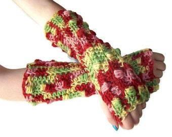 Fingerless Gloves - Arm Gloves - Crocheted Multi - Cotton/Acrylic Blend