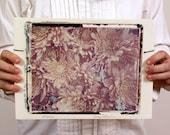 Mums. Large Format Polaroid Transfer Printed on Hand-Built Fired Clay Slab.   8X10 Polaroid Film.