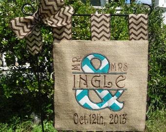 Burlap Garden Flag - Custom Mr and Mrs- Wedding Day
