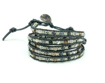Black agate,onyx,hematite,tiger eye and onyx bracelet.
