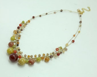 Carnelian,jade and crystal on silk thread necklace.