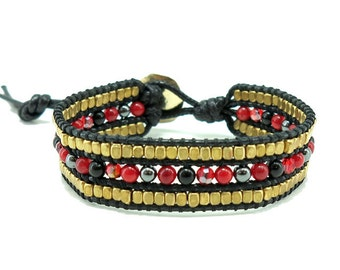 Black cotton cord,coral,onyx,hematite,crystal and beads wrap bracelet.