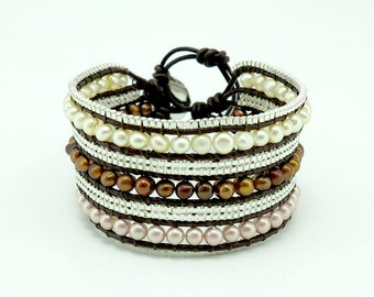 Freshwater pearl,silver plated chain wrap bracelet on leather