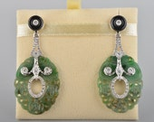Charmingful natural jade diamond and onyx vintage panel drop earrings