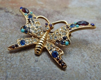 Old rhinestone and jeweled Butterfly Brooch pin small