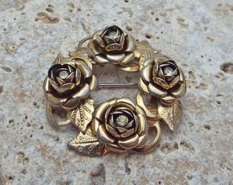 Rose Rhinestone Goldtone Brooch Pin
